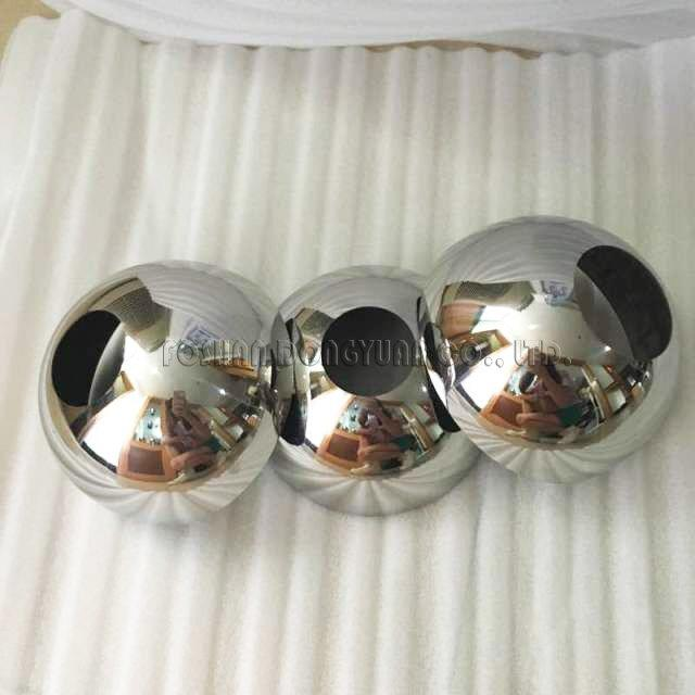 4 Inch Mirror Finished Stainless Steel Hemispheres with Hole