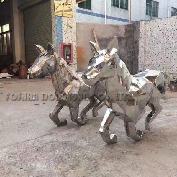 Modern Stainless Steel Matt Hollow Horse Sculpture