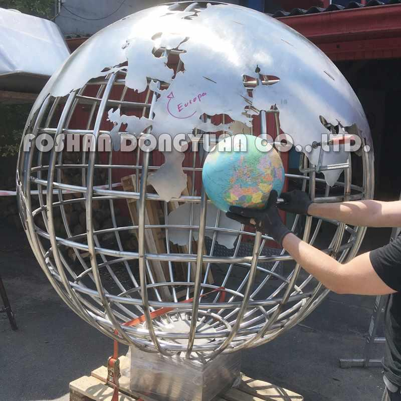 2 Meter Decorative Stainless Steel Gadern Ball with World Map