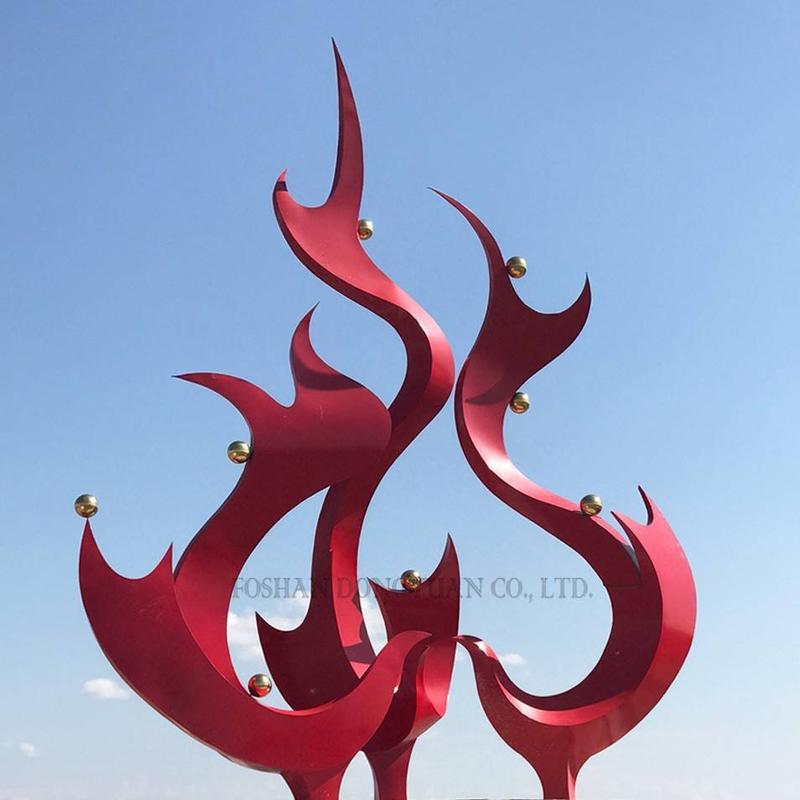 Painted Abtract Metal Sculpture