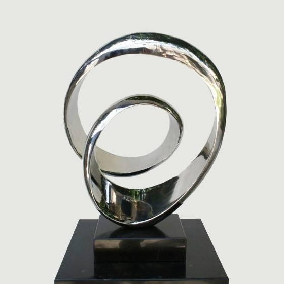 Polished Stainless Steel Modern Sculpture