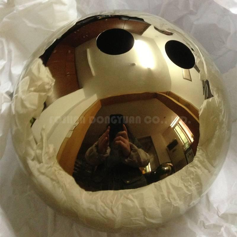 200mm Gold Plated Mirror Stainless Steel Hemisphere with Two Holes