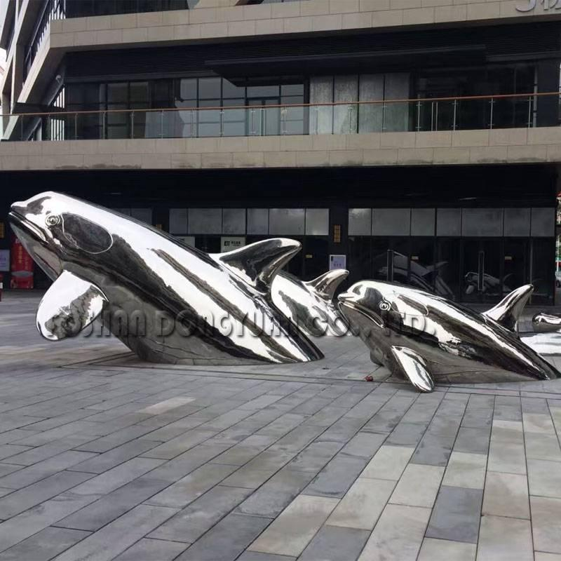 Polished Mirror Dolphin Decoration Sculpture