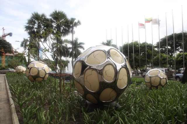 The Stainless Steel Football Lighting Sculpture in USA